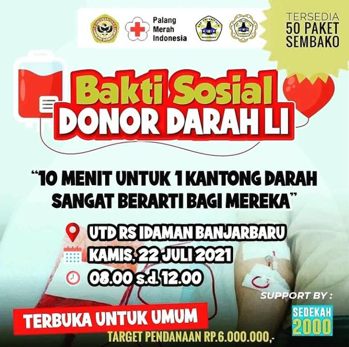 Ayo Ikuti Bakti Sosial Donor Darah di UTD RSDI Banjarbaru